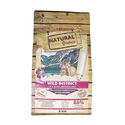 NATURAL GREATNESS - Pienso para Gatitos y Gatos Adultos SIN Cereales previene Bolas de Pelo. Saco 2 Kg | ANIMALUJOS