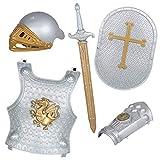 Lvbeis Child' Armadura Caballero Medieval-Casco,Espada,Escudo,Guardamanos de Armadura,Coraza para Niños Guerrero Cosplay
