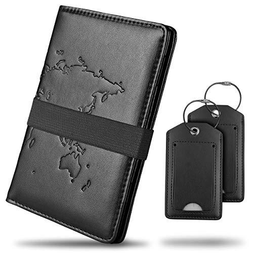 Stravaxo® Reisepasshülle – Passport Hülle aus Kunstleder in [4] Farbvarianten – Reisepassorganizer mit Adressanhängern – Ausweishülle Inkl. Gummiband, [5] Kartenfächer & Stifthalterung