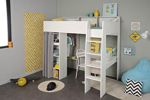 Hochbett mit Schreibtisch und Kleiderschrank TAYLOR 11 von Parisot