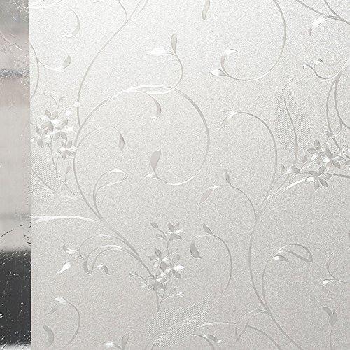 HXSS Frost PVC Statische Aufladung Fensterfolie (Kein Klebstoff) Dekorativ Aufkleber Für Büro & Küche 45cm x 2m (Fensterfolie 90 * 200cm)