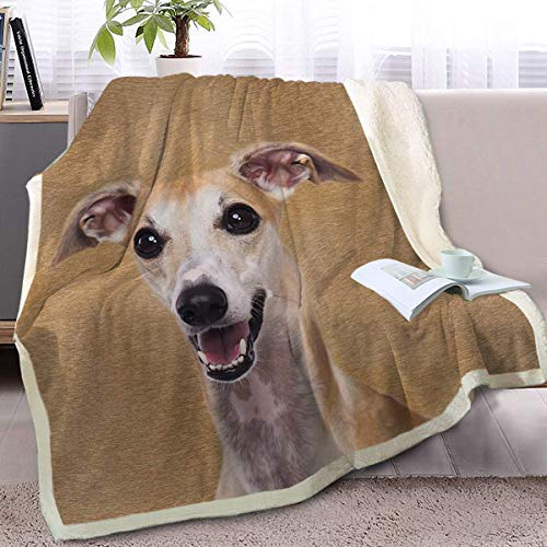 Hirkeld Nette Whippet weiche Decke Sherpa Fleece gefütterte Decke Haustier- und Hundeliebhaber Home Decken