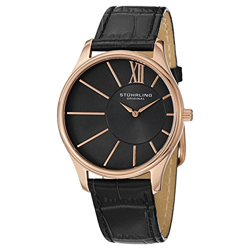 Stuhrling Original Men's 553.3345K1 Classic Cuvette SD 16k Rose Gold-Plated and Black Leather Watch