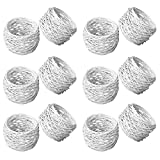 ITOS365 Handmade White Round Mesh Napkin Rings Holder for Dinning Table Parties Everyday, Set of 12