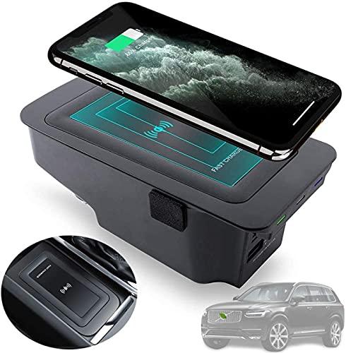 Cargador Coche Inalámbrico Para Volvo S90 V90 XC90 XC60 V60 S60 2020 2019 Panel Accesorios Consola Central,Cojín de Carga Rápido Del Cargador Del Teléfono de 10W Qi con Puertos Duales de 18W QC3.0 USB