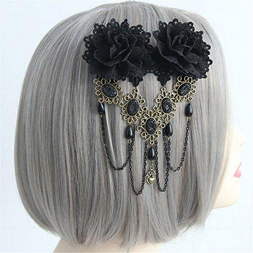 Gothic Vintage Black Lace Rose Flower Hair Clip With Pearl Chain Tassels Hair Barrettes for Women Princess Headwear