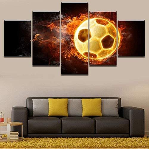 5 piezas de lienzo Cuadro compuesto por 5 lienzos impresos en HD, utilizados para decoración del hogar y carteles Balón de fútbol de llama abierta con marco 100x55cm