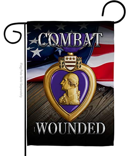 Service Purple Heart Combat Wounded Garden Flag Armed Forces All Branches Support Honor United State American Military Veteran Official Small Gift Yard House Banner Double-Sided 13 X 18.5
