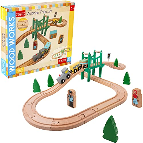 Wowow Toys & Games My First Railway Set   Wooden Toys Play Set for Beginners Great Fun For Kids Boys & Girls Age 3 Years+