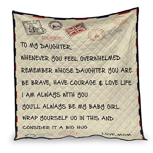 IOVEQG Manta para niños adultos con texto en inglés 'To My Daughter' (150 x 200 cm), color blanco