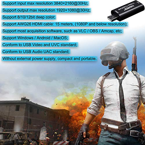 BlueAVS HDMI to USB Video Capture Card 1080P for Live Video Streaming Record via DSLR Camcorder Action Cam - Capture 1080P@30Hz (Metal-Gray)