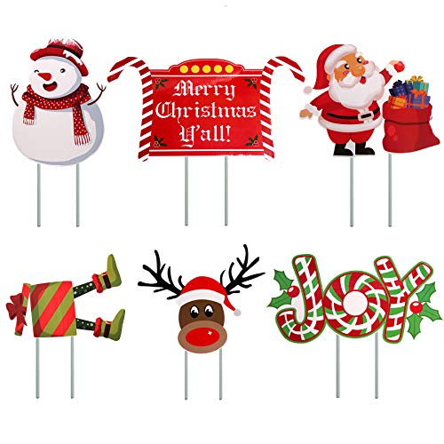 Seasons Stars SSDecor 6 Pack Merry Christmas Yard Signs Outdoor Lawn Sign Decorations with Stakes, Xmas Holiday Party Yard Display, Winter Wonderland Outdoor Ornaments Lawn Decoration