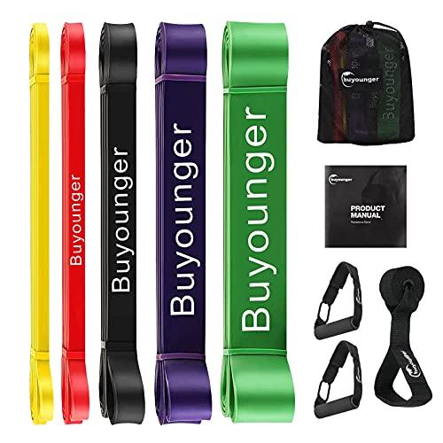 Bandas Elasticas Fitness Bandas de Resistencia 5pcs Bandas Elasticas Gluteos Loop Bandas elésticas de Resistencia con Manijas y Bolsa de Transporte para Yoga Fuerza Fisioterapia