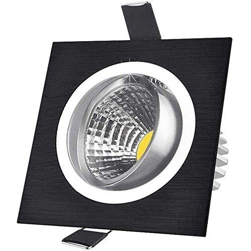 HYLH Foco empotrable inclinable Panel Cuadrado Negro Focos empotrables LED Lámpara de Techo de 9W Bombillas halógenas de 60W Equivalente a 60 & deg;Ángulo de Haz Ajustable Luz Diurna 6000K Ilum