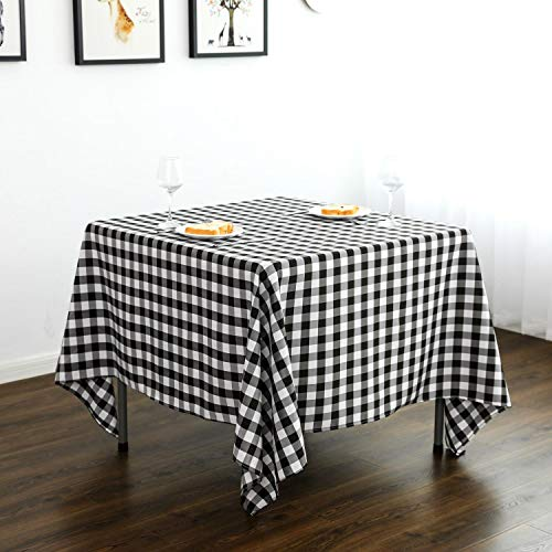 Lycra Home Square Black and White Buffalo Plaid Tablecloth Checkered Tablecloth 52 x 52 Inch Black and White for Family Holiday,Camping Picnic, (Black & White)