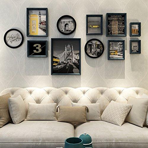 Cadre décoratif Cadres photo en bois, 7 Pcs/ensembles Collage Photo Frame Set, Cadres photo Vintage, cadre photo famille mur bricolage cadre photo ensembles pour mur (Couleur : B)