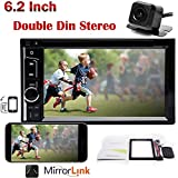 For 1999-2002 GMC Sonoma Double Din Car Stereo, In-dash Digital AM/FM Radio Video MP3 Player 6.2inch Touchscreen, Support Bluetooth Hands-free and Mirror-Link, Remote Controller and Backup Camera Incl