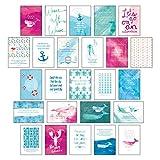 Postkarten Set 'Sand & Sea' - 25 hochwertige Postkarten mit sommerlichen Motiven sowie inspirierenden und motivierenden Sprüchen & Zitaten zum ... Spruchkarten Sommer, Sonne, Strand & Meer