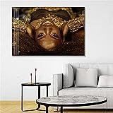Kingkoil Hd Imprimir Arte Africano De La Moda Gafas De Sol Gold Cool Negro Mujeres Posters Y Imágenes De Arte De La Pared De Lienzo Para Decorar Una Habitación 50x75cm NoFramed