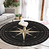 NiYoung Round Area Rug, Spa Floor Mats Bathroom Rug Mat, Nursery Rugs, Entrance Rug - Vintage Compass Rugs Mat Home Decor for Living Room Bedroom Home, Fast Dry