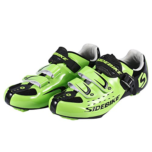 Asvert Zapatillas de Ciclismo Carretera Unisex Profesional con Plantilla Antideslizante Amortiguador para Bicicleta al Aire Libre (43, Verde)