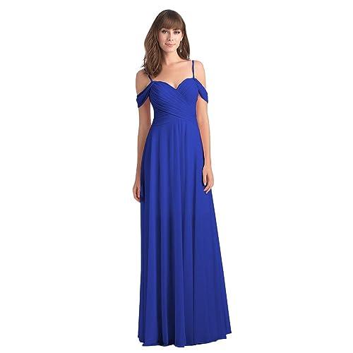 Royal Blue Off Shoulder Bridesmaids