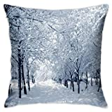 Snowy Trees Farmhouse Wildlife Woodsy Scenery Throw Fundas de almohada clásica funda de cojín suave y cómoda para habitación, sofá, silla, 30,5 x 30,5 cm