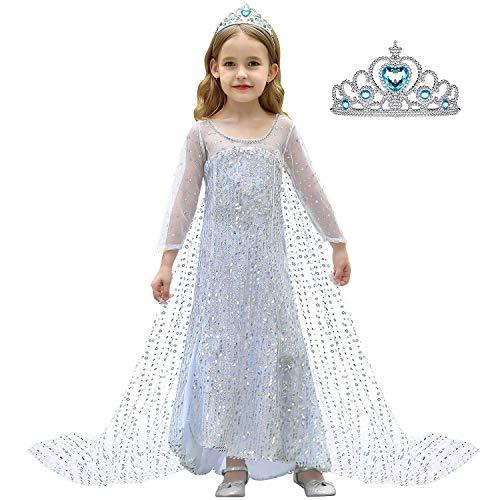 Tacobear Elsa Frozen Disfraz Princesa Niñas Frozen Disfraz Elsa Corona Princesa Elsa Cosplay Disfraz Niñas Lentejuelas Plateadas Vestido Cabo Cumpleaños Navidad Fiesta Halloween Traje Niñas (100CM)