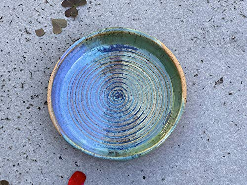 Blue and Green Oil Dip Dish, Handmade Clay Art Kitchen Pottery Garlic Grater Plate