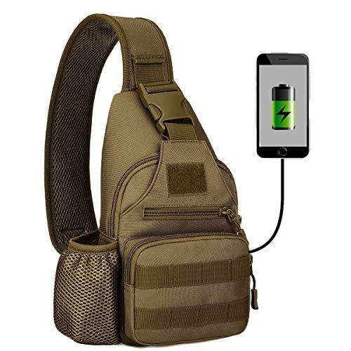 Huntvp Taktisch Brusttasche Military Schultertasche mit Wasserflasche Halter Chest Sling Pack Molle Armee Crossbody Bag Militärisch Umhängetasche für Wandern Camping - Typ-2 Braun