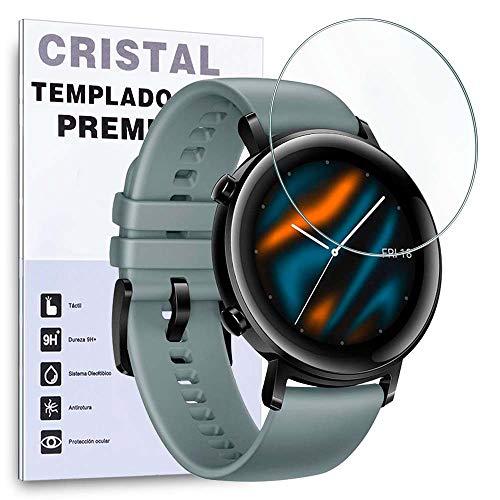 REY Protector de Pantalla para Huawei Watch GT 2 46mm - GT2 - Huawei Watch GT Active, Cristal Vidrio Templado Premium