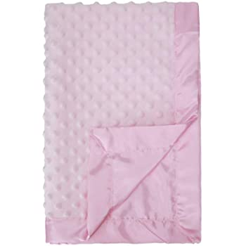 Pro Goleem Baby Soft Minky Dot Blanket with Silky Satin Backing Gift for Girls (Pink, 30'' x 40'')