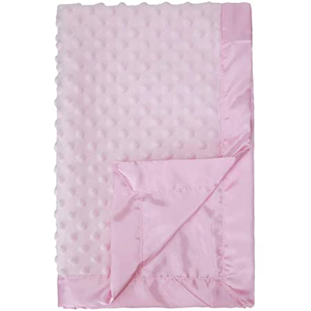 Pro Goleem Baby Soft Minky Dot Blanket with Silky Satin Backing Gift for Girls(Pink, 30'' x 40'')