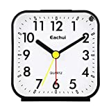 Eachui - Sveglia analogica piccola con allarme forte, luce notturna, funzione snooze, senza ticchettio, silenziosa, funzionamento a batteria, facile da usare (bianco e nero)