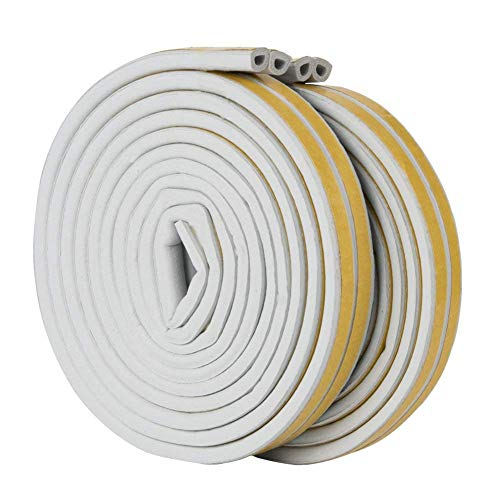 sinzau Door Window Draught Excluder Strip Foam Seal Total 32.8 feet I Type Self-Adhesive Rubber Soundproofing Weatherstrip White