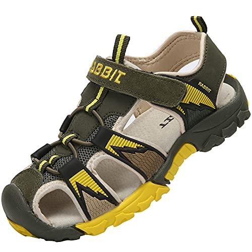 SAGUARO Kinder Geschlossen Sandalen Mädchen Sandale Outdoor Sportschuhe Jungen Wander Sandaletten Sommer Atmungsaktiv Sandaletten, Grün 32