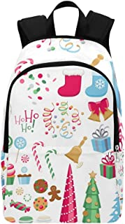 Colorful Assorted Christmas Party Icons Set Casual Daypack Travel Bag College School Backpack for Mens and Women