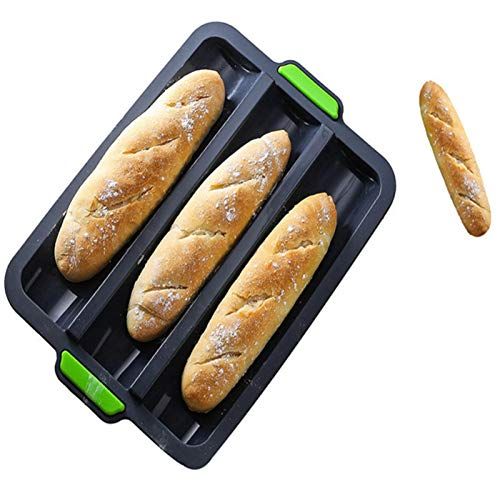Joyeee Baguette Pans for Baking, French Bread Pans for Baking / 3 Loaf, Silicone Loaf Roll Pan Cake Baking Mold Tray, Non-Stick Baking Hot Dog Mold, Sandwich Mold Bake Tools for Oven, Grey, 34.5 CM