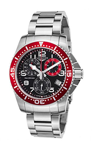 Longines Hydroconquest Quartz Chronograph Steel Mens Watch Red Bezel L3.690.4.59.6