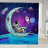 Cortinas de ducha de astronauta con diseño de luna y cohete para niños y adolescentes, decoración de habitación exterior, impermeable, con 12 ganchos, para bañera, 182 cm de ancho x 213 cm de largo