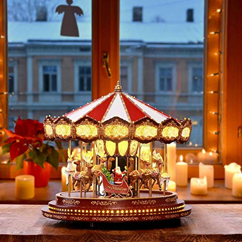 FCV 17' Hand-Painted Elegant Animated 100 LED Light Show Musical Christmas Carol Indoor Decorative Holiday Moving Carousel