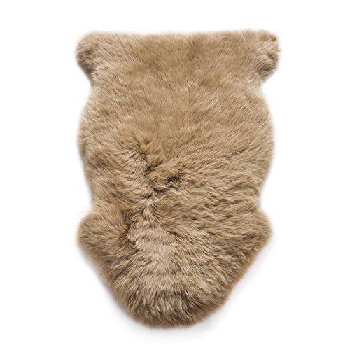 WaySoft Genuine New Zealand Sheepskin Rug, Luxuxry Fur Rug for Bedroom, Fluffy Rug for Living Room (2ft x 3ft, Taupe)