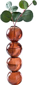 Pearlead Clear Glass Bubble Vase Centerpieces for Hydroponic Plants Cute Floral Vase for Home Decor 8.7 Inches Brown