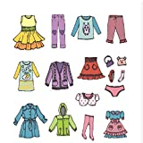Tomaibaby 1 Sheet Girl Clothing Decals, Removable Clothes Dress Classification Label Stickers for Wardrobe or Drawer Organizing