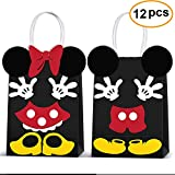 Min Mouse Party Supplies Bags -Micky Minie Paper Treat Candy Gift Bags for Kids Birthday Micky Minie Party Supplies -12 Piece