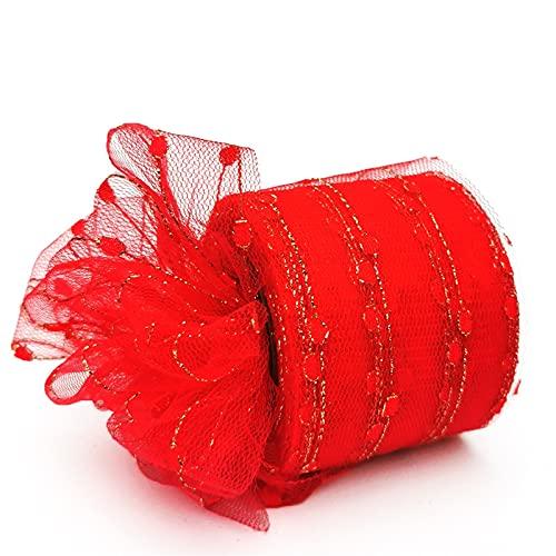 AJULING 6 cm 25 Yardas Brillo Lentejuelas Tul Rolls Boda cumpleaños decoración de Malla Tela Tutu Vestido Bricolaje Organza del bebé (Color : Tulle Red, Size : 1pc)