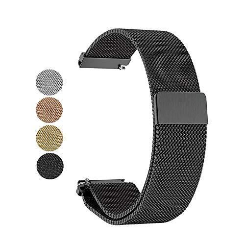 Mediatech Armband für Garmin Vivoactive 3 / Gear Sport, 20mm Stegbreite Edelstahl-Armband, Ersatz Uhrenarmband, Wechselarmband, Magnetverschluss kompatibel für Samsung Galaxy Watch 42mm (Schwarz)
