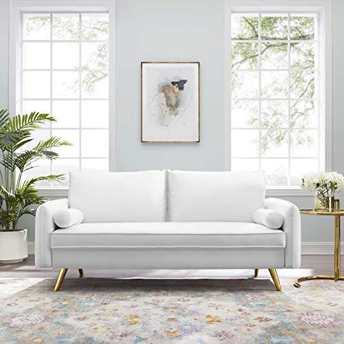 Modway Revive Performance Velvet Sofa, White