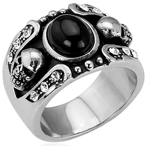 JIANLISP Ágata Anillo gótico de la Vendimia de Acero Inoxidable Doble Punky del cráneo Oval Hombres de la joyería de, Plata Negro