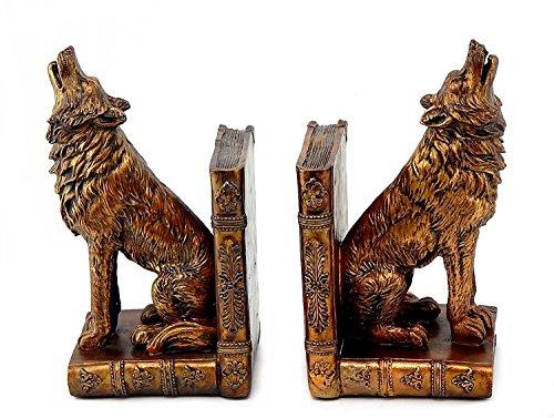 Bellaa 26362Heulender Wolf Buchstützen Set von 2Wölfe Bücher CD DVD-Halter
